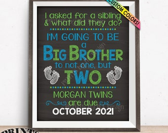 "Twins Pregnancy Announcement Sign, Promoted to Big Brother to Twins, Custom PRINTABLE 8x10/16x20"" Chalkboard Style Expecting Twins Sign"