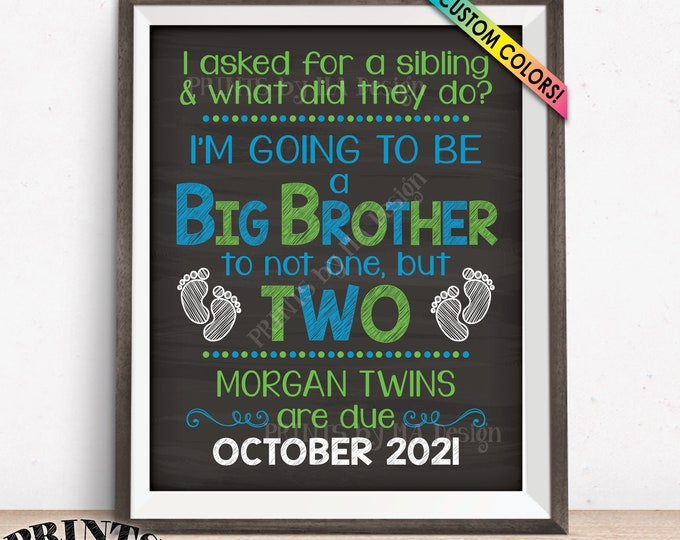 """Twins Pregnancy Announcement Sign, Promoted to Big Brother to Twins, Custom PRINTABLE 8x10/16x20"""" Chalkboard Style Expecting Twins Sign"""