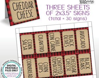"""Chili Bar Labels, Lumberjack Chili Station, Build Your Own Bowl of Chili, 30 Red Checker Pre-filled Labels, PRINTABLE 8.5x11"""" Sheets <ID>"""
