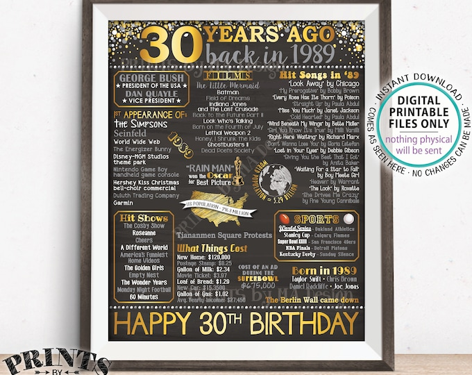 """30th Birthday Gift, Born in 1989 Birthday Flashback 30 Years Back in 1989 B-day, Gold, PRINTABLE 8x10/16x20"""" Chalkboard Style Sign <ID>"""