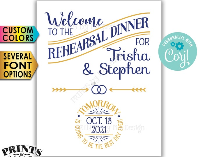 """Rehearsal Dinner Sign, Tomorrow is Going to Be The Best Day Ever, PRINTABLE 8x10/16x20"""" Wedding Rehearsal Sign <Edit Yourself with Corjl>"""