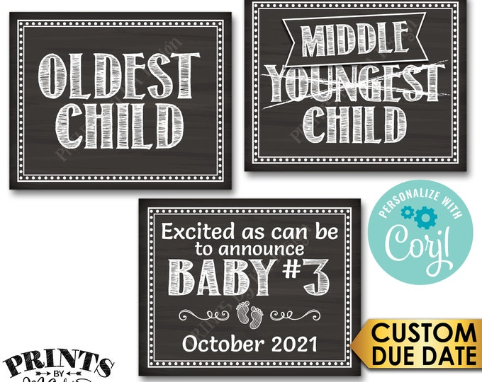 "3rd Baby Pregnancy Announcement, Oldest Middle Youngest, PRINTABLE 16x20"" Chalkboard Style Baby #3 Reveal Signs <Edit Yourself with Corjl>"