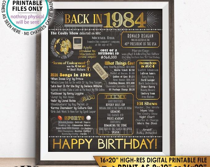 "34th Birthday Gift, Born in 1984 Flashback 34 Years Ago Back in 1984 Birthday, Gold, PRINTABLE 8x10/16x20"" Chalkboard Style B-day Sign <ID>"