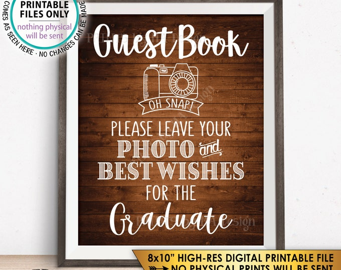 """Guestbook Photo Sign, Leave Photo and Best Wishes for the Graduate Graduation Party Sign, Rustic Wood Style PRINTABLE 8x10"""" Instant Download"""
