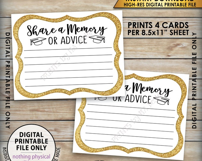 "Share a Memory or Advice Graduation Advice Card, Graduation Party Decor, Gold Glitter Advice Card, 8.5x11"" Printable Instant Download"