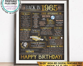 "1965 Birthday Flashback Poster, Back in 1965 Birthday Decorations, '65 B-day Gift, PRINTABLE 16x20"" B-day Sign <ID>"