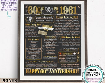 """60th Anniversary Poster Board, Married in 1961 Anniversary Gift, Back in 1961 Flashback 60 Years, PRINTABLE 16x20"""" 1961 Sign <ID>"""