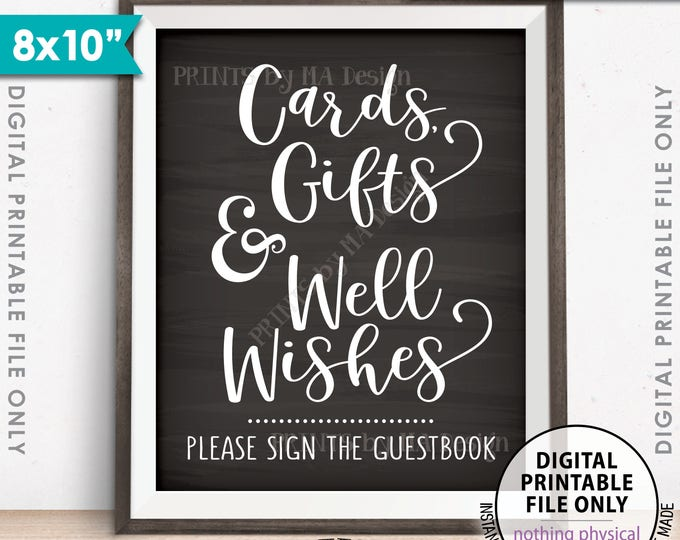 "Cards Gifts and Well Wishes Sign the Guestbook, Cards & Gifts, Wedding, Graduation, 8x10"" Chalkboard Style Printable Instant Download Sign"