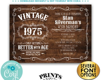 "Vintage Birthday Party Invitation, Better with Age Bday Invite, Rustic Wood Style PRINTABLE 5x7"" Landscape File <Edit Yourself with Corjl>"