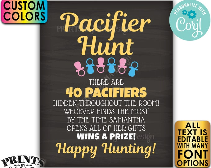 """Baby Shower Pacifier Hunt Game Sign, Pacifier Scavenger Hunt, Custom PRINTABLE 8x10/16x20"""" Chalkboard Style Sign <Edit Yourself w/Corjl>"""