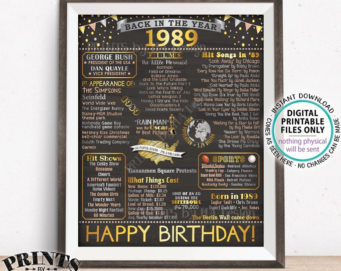 """Back in 1989 Birthday Poster Board, Flashback to 1989 Birthday Decoration, 1989 B-day Gift, PRINTABLE 16x20"""" Sign <ID>"""
