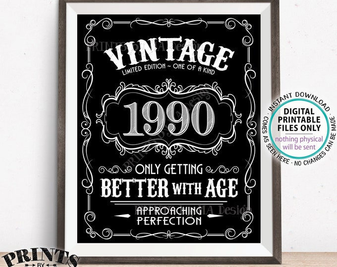 "1990 Birthday Sign, Better with Age Vintage Birthday Poster, Whiskey/Liquor Theme, Black & White PRINTABLE 8x10/16x20"" 1990 Sign <ID>"