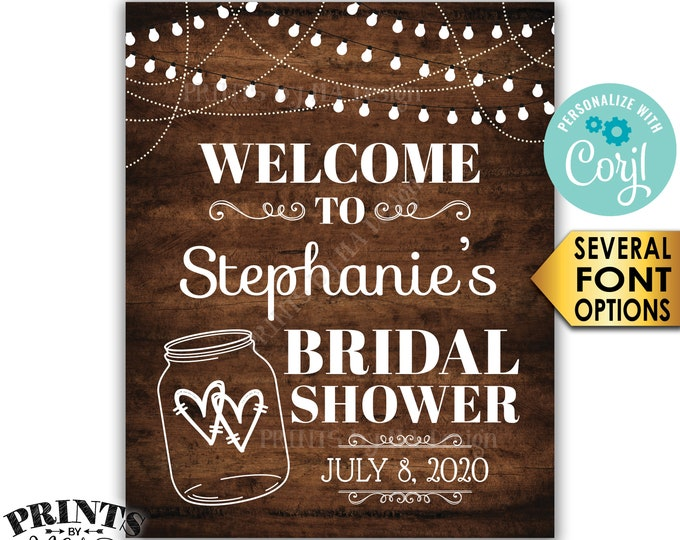 """Bridal Shower Welcome Sign, Lights & Jar Wedding Shower Sign, PRINTABLE 8x10/16x20"""" Rustic Wood Style Sign <Edit Yourself with Corjl>"""