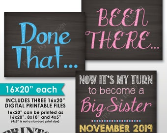 """4th Baby Pregnancy Announcement Signs, Been There Done That Now It's My Turn, Chalkboard Style PRINTABLE 8x10/16x20"""" 4th Child Reveal Signs"""