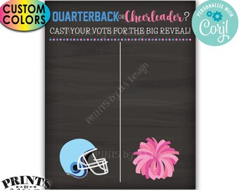 """Gender Reveal Party Voting Sign, Football Quarterback or Cheerleader Scoreboard, PRINTABLE 8x10/16x20"""" Sign <Edit Colors Yourself w/Corjl>"""