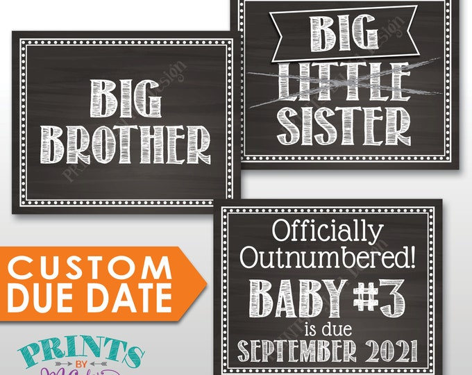 3rd Baby Pregnancy Announcement, Officially Outnumbered, Big Sister or Big Brother, Baby Number 3 PRINTABLE Chalkboard Style  Baby #3 Signs