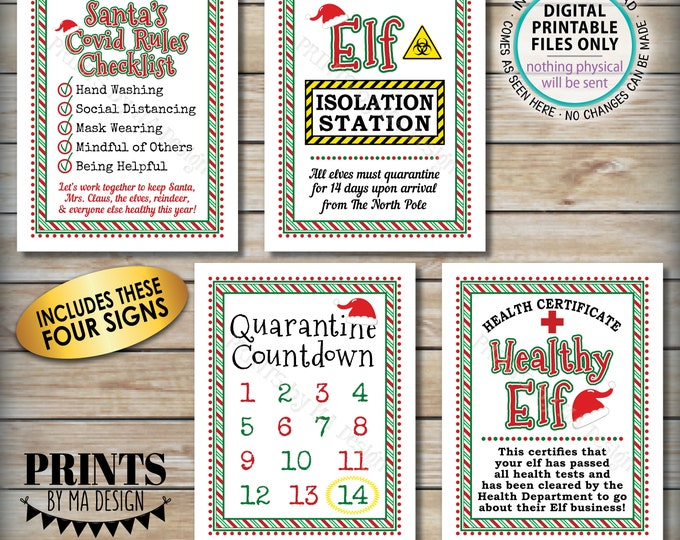 "Elf Quarantine Signs, Keep Santa Healthy during Covid, Christmas Elf Quarantine 14 Days Isolation, Four PRINTABLE 8.5x11"" Digital Files <ID>"