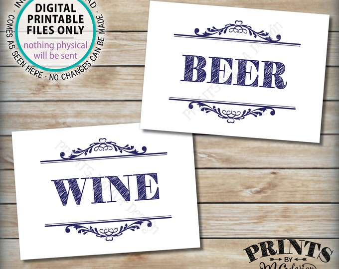 """Beer and Wine Signs, Bar Signs, Beer & Wine Beverage Station, Wedding Party Celebration Drinks, Two PRINTABLE 5x7"""" Navy Blue Signs <ID>"""