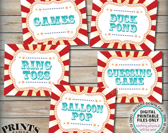 "Carnival Games Signs, Carnival Theme Party, Ring Toss, Balloon Pop, Duck Pond, Guessing Game, Circus, Teal, PRINTABLE 8x10/16x20"" Signs <ID>"