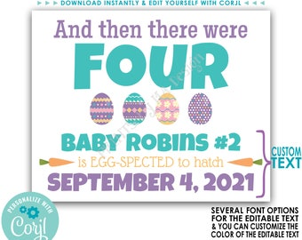 """Easter Pregnancy Announcement, And Then There Were Four Easter Eggs, PRINTABLE 8x10/16x20"""" Baby Reveal Sign <Edit Yourself with Corjl>"""