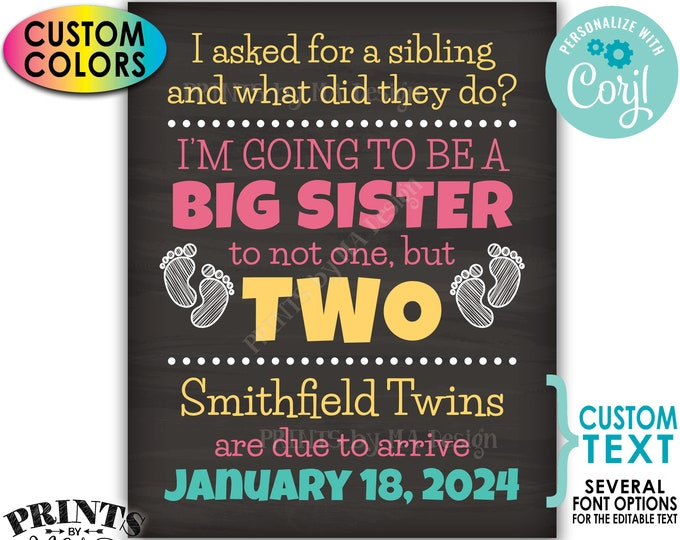 """Twins Pregnancy Announcement Sign, Promoted to Big Sister to Twins, PRINTABLE 8x10/16x20"""" Chalkboard Style Sign <Edit Yourself with Corjl>"""