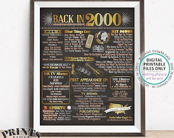 "Back in 2000 Poster Board, Flashback to 2000, Remember 2000, USA History from 2000, PRINTABLE 16x20"" Sign <ID>"