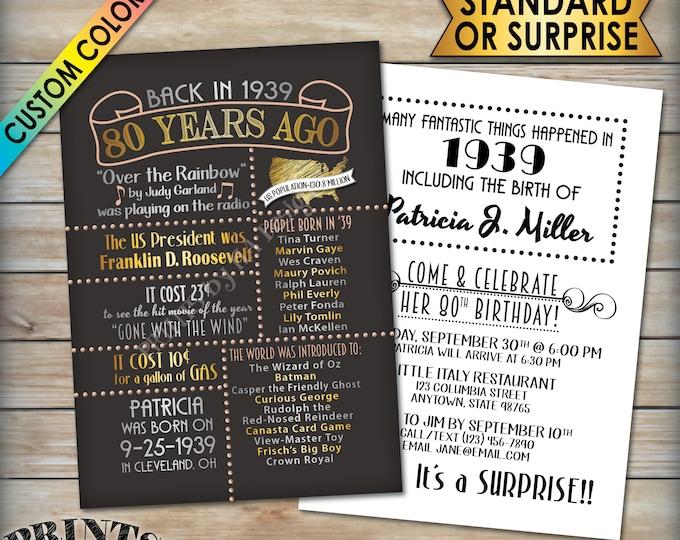 "80th Birthday Invitation, Born in 1939 Flashback 80 Years Ago, 80th Bday Party Invite, 1939 80th Invite, PRITNABLE 5x7"" 80th Bday Invitation"