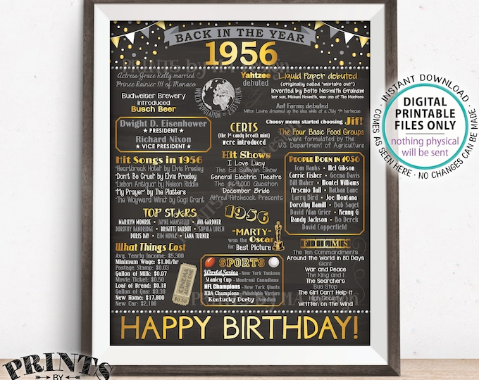 "1956 Birthday Poster Board, Back in 1956 Birthday Decoration, Flashback to 1956 B-day Gift, PRINTABLE 16x20"" Sign <ID>"