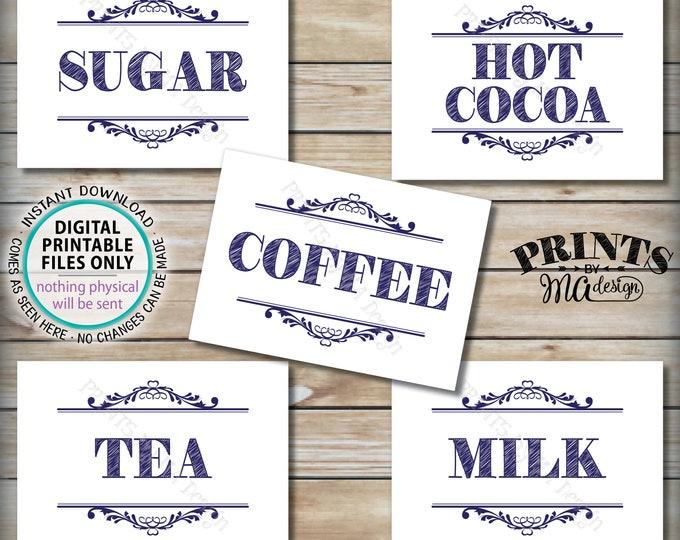 "Coffee Bar Signs, Beverage Station, Coffee, Tea, Hot Cocoa, Milk, Sugar, Wedding Shower, Graduation, 5 Navy Blue PRINTABLE 5x7"" Signs <ID>"