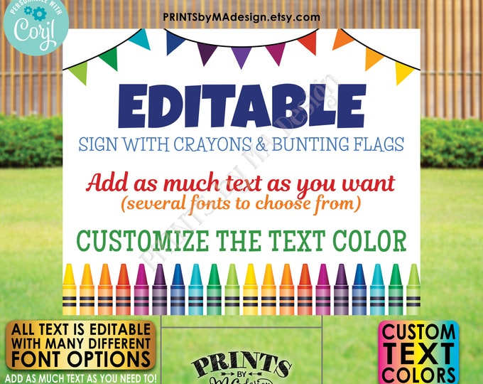 """Editable Sign with Colorful Crayons & Bunting Flags, Custom PRINTABLE 8x10/16x20"""" Landscape Sign, Crayon Decor <Edit Yourself w/Corjl>"""
