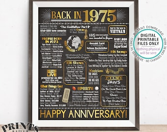 "1975 Anniversary Poster, Back in 1975 Anniversary Gift, Flashback to 1975 Party Decoration, PRINTABLE 16x20"" Sign <ID>"