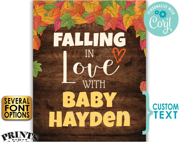 "Fall Baby Shower Sign, Falling in Love with Baby Name Reveal, PRINTABLE 16x20"" Rustic Wood Style Shower Decor <Edit Yourself with Corjl>"