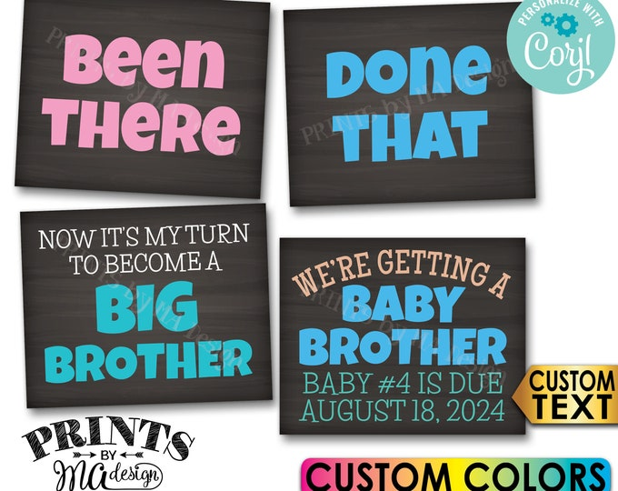 Getting a Baby Brother Pregnancy Announcement, Been There Done That, Become a Big Brother, 4 Custom PRINTABLE Signs <Edit Yourself w/Corjl>
