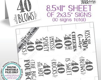 "40th Birthday Party Candy Signs, Cheers to 40 Candy Bar, 40 Sucks Blows Rocks Sweet, Kiss 30s Goodbye, PRINTABLE 8.5x11"" Sheet of Cards <ID>"
