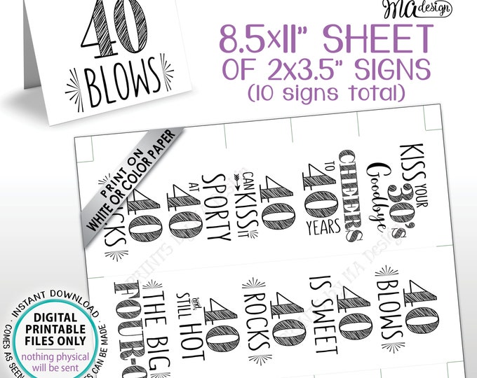"""40th Birthday Party Candy Signs, Cheers to 40 Candy Bar, 40 Sucks Blows Rocks Sweet, Kiss 30s Goodbye, PRINTABLE 8.5x11"""" Sheet of Cards <ID>"""