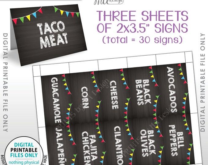 "Taco Bar Labels, Taco Bar Menu Fiesta Mini Menu Taco Labels, Taco Bar Sign, 30 2""x3.5"" Chalkboard Style Labels, PRINTABLE 8.5x11"" Sheet <ID>"