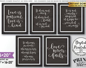 "Love is Patient Love is Kind, Wedding Aisle, 1 Corinthians 13, Set of 5 Wedding Signs, Chalkboard Style PRINTABLE 8x10/16x20"" Signs <ID>"