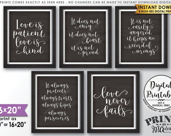 """Love is Patient Love is Kind, Wedding Aisle, 1 Corinthians 13, Set of 5 Wedding Signs, Chalkboard Style PRINTABLE 8x10/16x20"""" Signs <ID>"""
