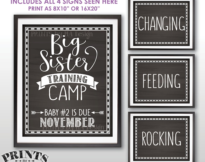"""Big Sister Training Camp Pregnancy Announcement Photo Props, Baby #2 is due NOVEMBER Dated Chalkboard Style PRINTABLE 8x10/16x20"""" Signs <ID>"""