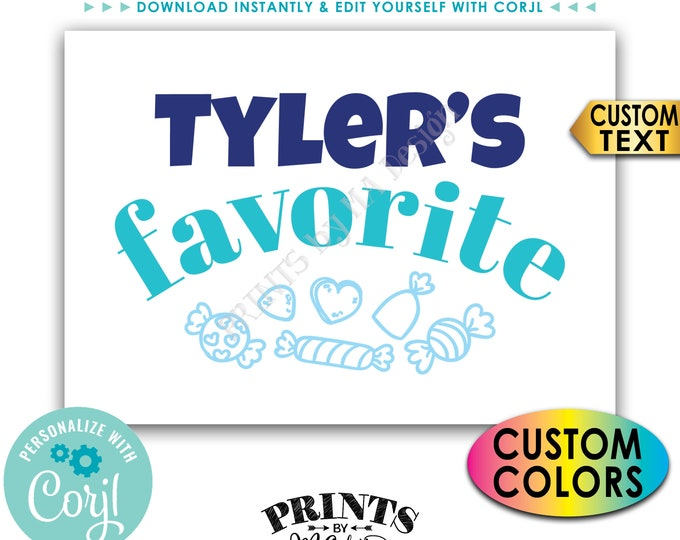 "Favorite Candy Sign, Custom Name Candy Display, PRINTABLE 5x7"" Candy Bar Sign <Edit Yourself with Corjl>"