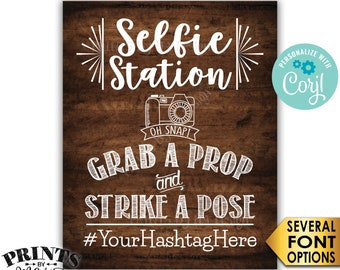 "Selfie Station Sign, Share Your Pics on Social Media, PRINTABLE 8x10/16x20"" Rustic Wood Style Hashtag Sign <Edit Yourself with Corjl>"