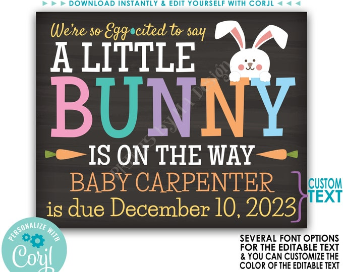 Easter Pregnancy Announcement, We're So Egg-cited A Little Bunny is on the Way, PRINTABLE Baby Reveal Sign <Edit Yourself with Corjl>