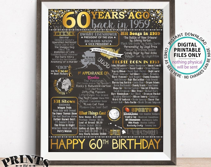 "60th Birthday Gift, Born in 1959 Birthday Flashback 60 Years Back in 1959 B-day, Gold, PRINTABLE 16x20"" Sign <ID>"