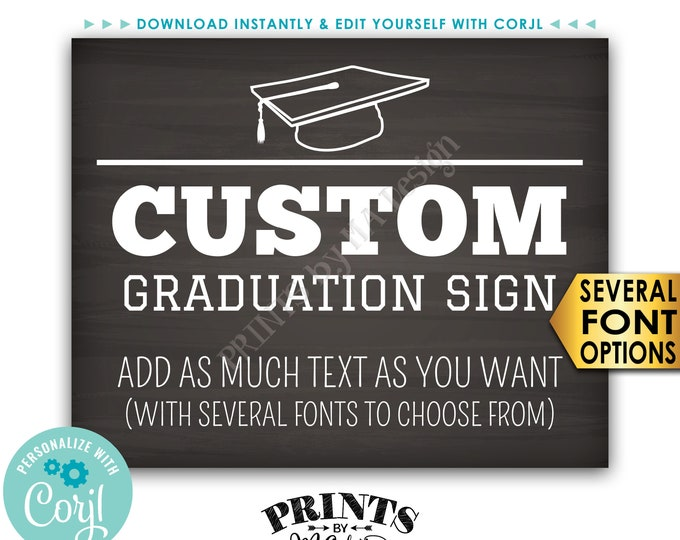 "Custom Graduation Party Decoration, Choose Text, Editable PRINTABLE 8x10/16x20"" Landscape Chalkboard Style Sign <Edit Yourself with Corjl>"