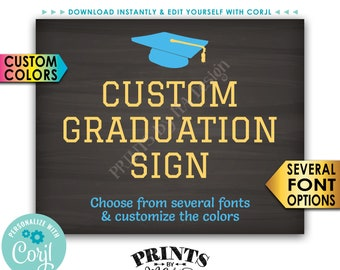 """Graduation Sign, Graduation Party Decorations, Editable PRINTABLE 8x10/16x20"""" Chalkboard Style Sign, Landscape <Edit Yourself with Corjl>"""