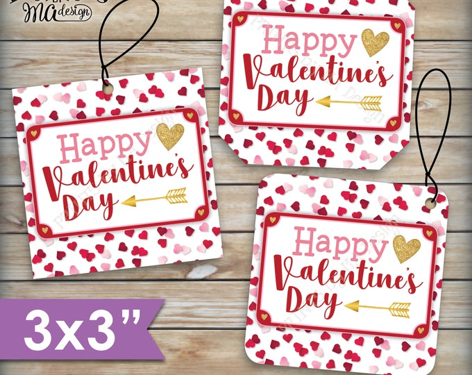 "Valentine's Day Tags, Valentines Day Cards, Treat Bag, Valentine's Goodie Bag, School Valentines, 3"" tags on PRINTABLE 8.5x11"" Sheet <ID>"