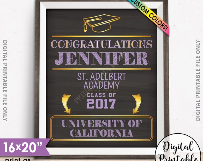 """Graduation Sign, Welcome to the Graduation Party Decorations, Congratulations Graduate Sign, 8x10/16x20"""" Chalkboard Style Printable Sign"""