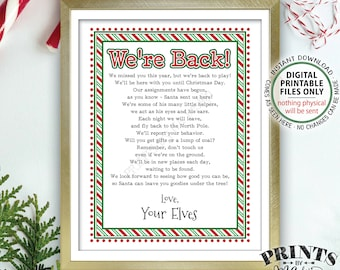 "Welcome Back Letter to Kids from their Christmas Elves have Returned, We're Back Elf Hello Letter, PRINTABLE 8.5x11"" Sign <Instant Download>"