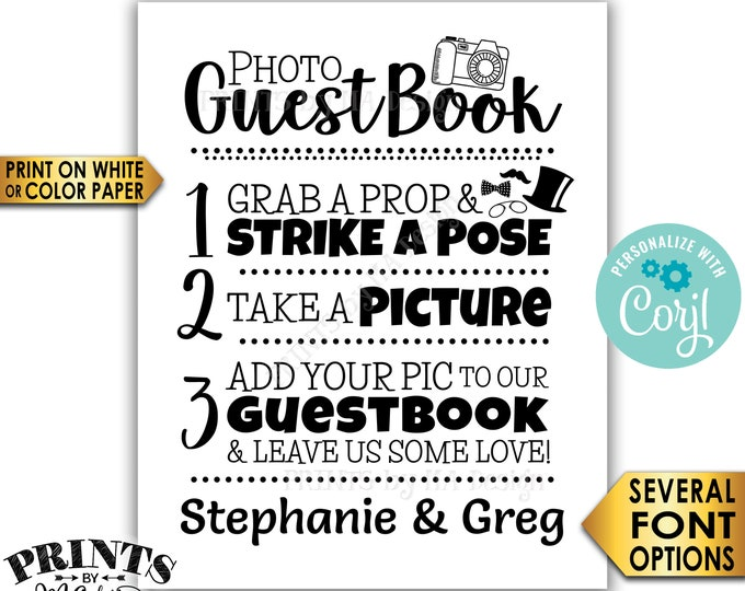"""Wedding Photo Guestbook Sign, Add your photo & Leave Us Some Love, PRINTABLE Black and White 8x10""""/16x20"""" Sign <Edit Yourself with Corjl>"""