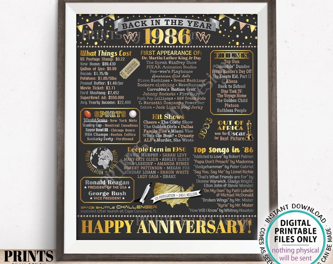 """Back in the Year 1986 Anniversary Sign, Flashback to 1986 Anniversary Decor, Anniversary Gift, PRINTABLE 16x20"""" Poster Board <ID>"""